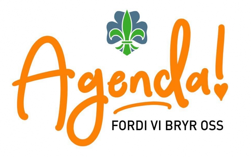 logo for landsleiren, det står Agenda i oransje løkkeskrift